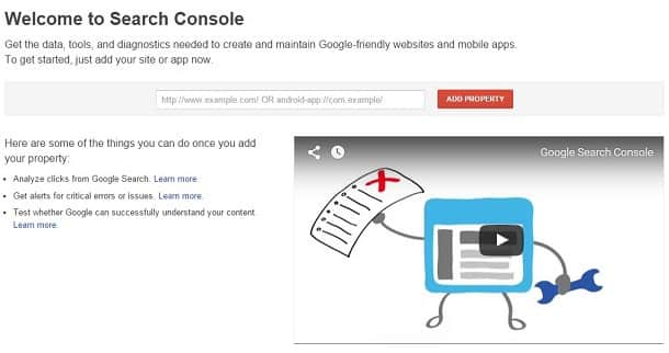 google webmaster tools- webbsida