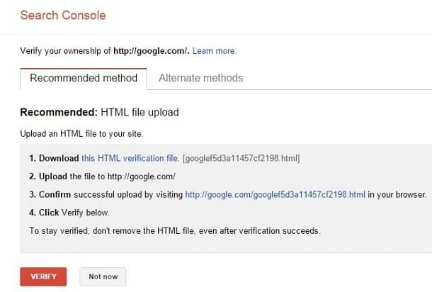 google webmaster tools html