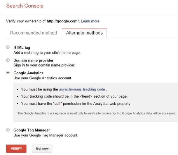 google webmaster tools method
