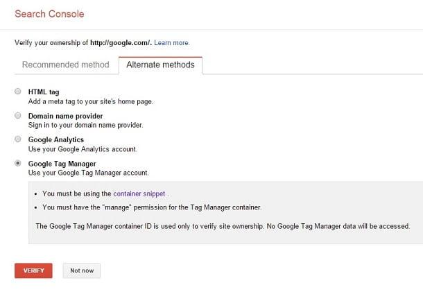 google webmaster tools- tag maneger